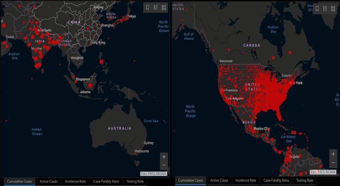 Bản đồ Covid Hoa Kỳ và Châu Á