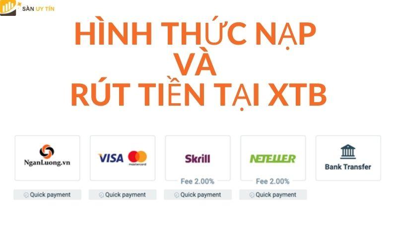 Hình thức nạp và rút tiền tại XTB