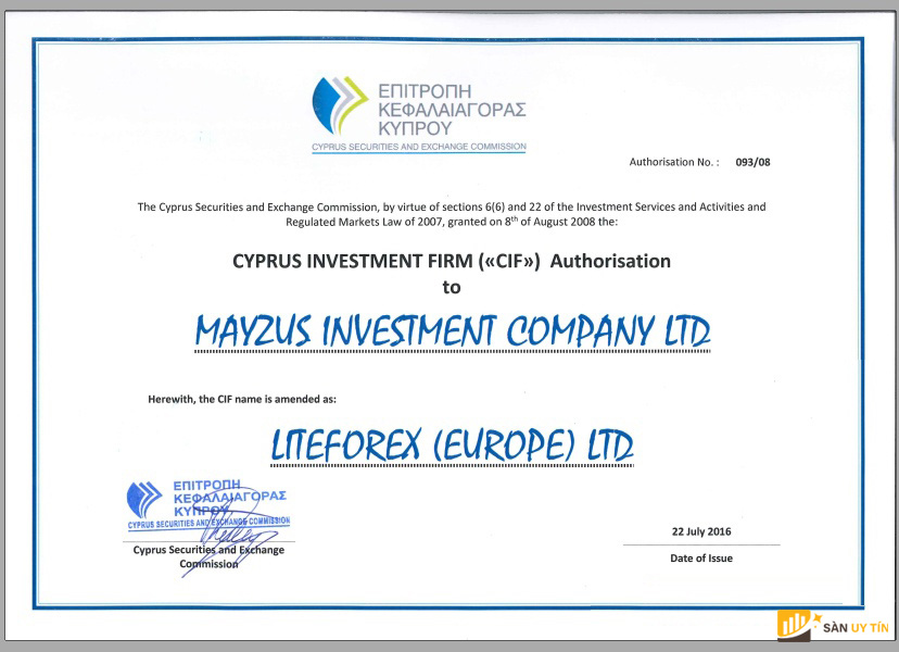 Mẫu giấy phép mà CySEC cấp cho sàn LiteForex