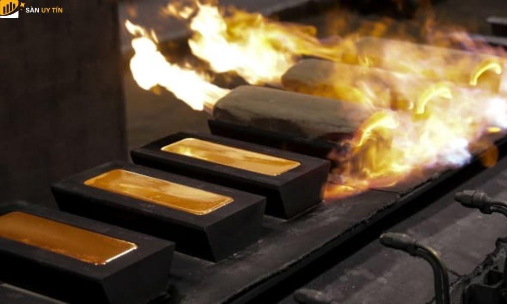 Lưu ý sự thay đổi của việc sản xuất vàng