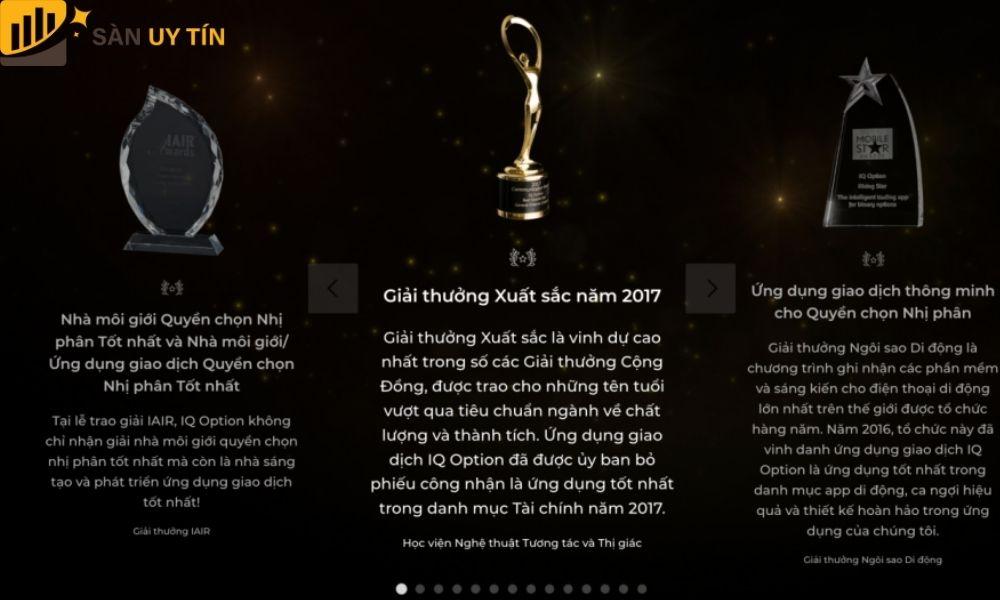 Giải thưởng mà sàn IQ Option nhận được
