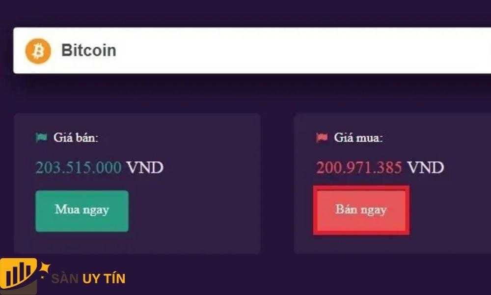 Thực hiện rút tiền từ Bitcoin như hình dưới