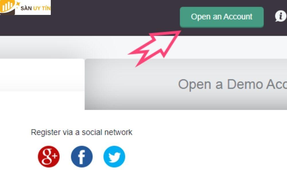 Nhấn theo mũi tên màu hồng trong hình để mở tài khoản Nord FX