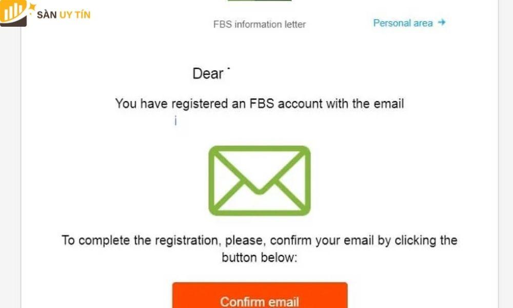 Khi hiện ra thông báo này là trader đã hoàn thành mở tài khoản FBS