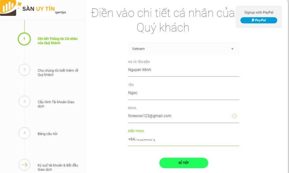 Trader chú ý phải điền thông tin bằng tiếng Việt không dấu