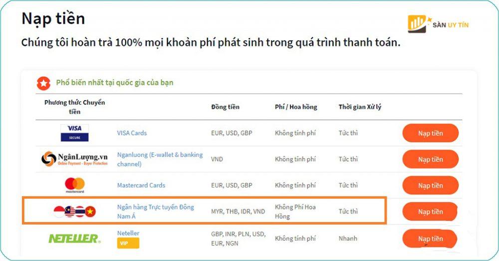 Cách nạp tiền tại FXTM qua Internet banking