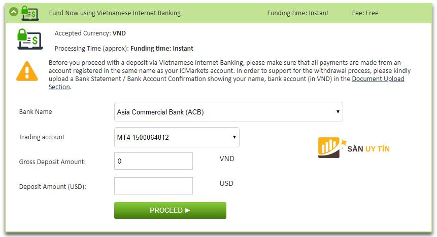 Cách nạp tiền tại ICMarket qua Internet Banking