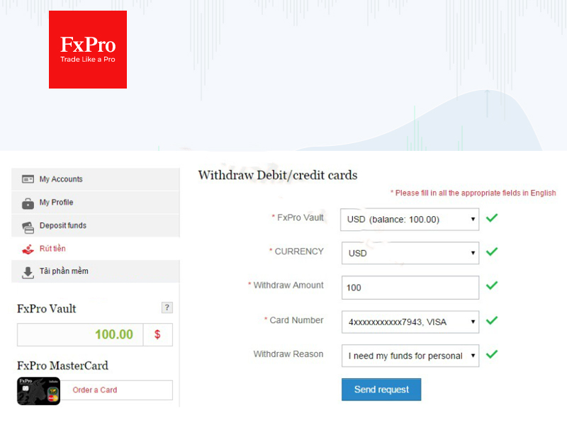 Cách rút tiền từ FxPro qua thẻ tín dụng