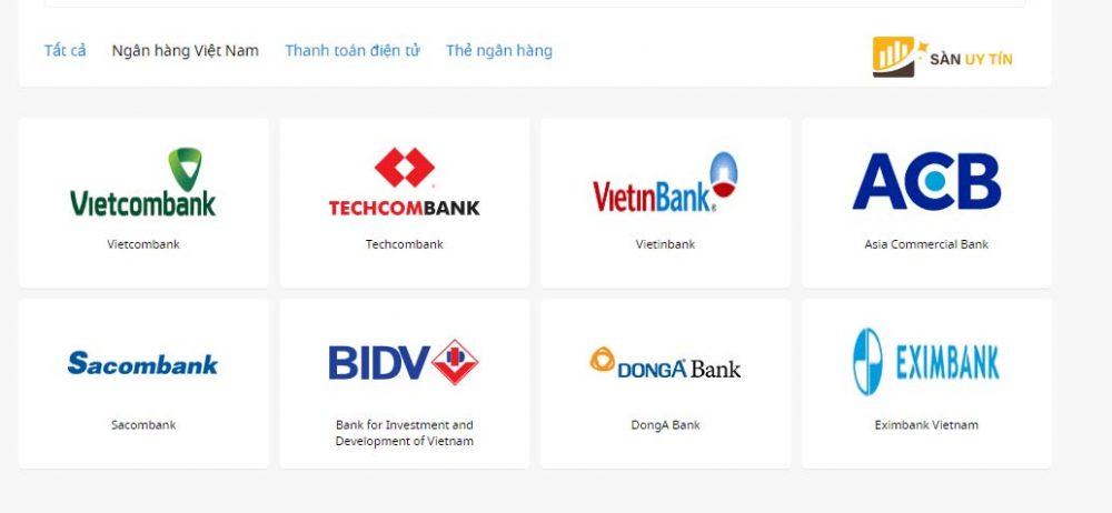 Chọn loại ngân hàng muốn nạp