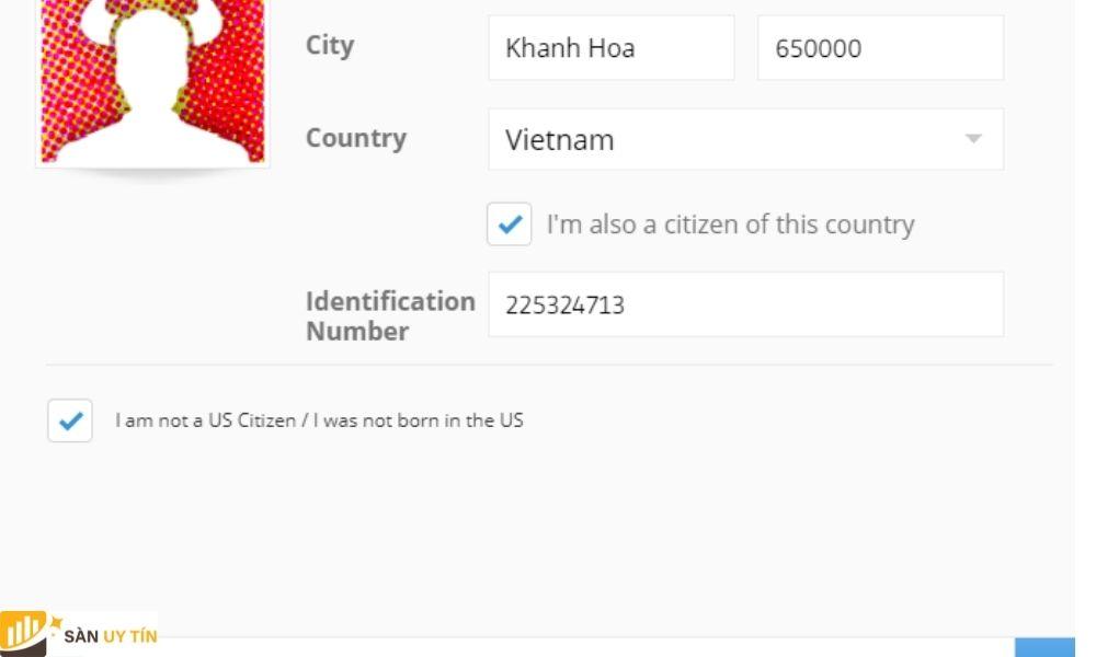 Điền địa chỉ thành phố, quốc gia như yêu cầu trong hình