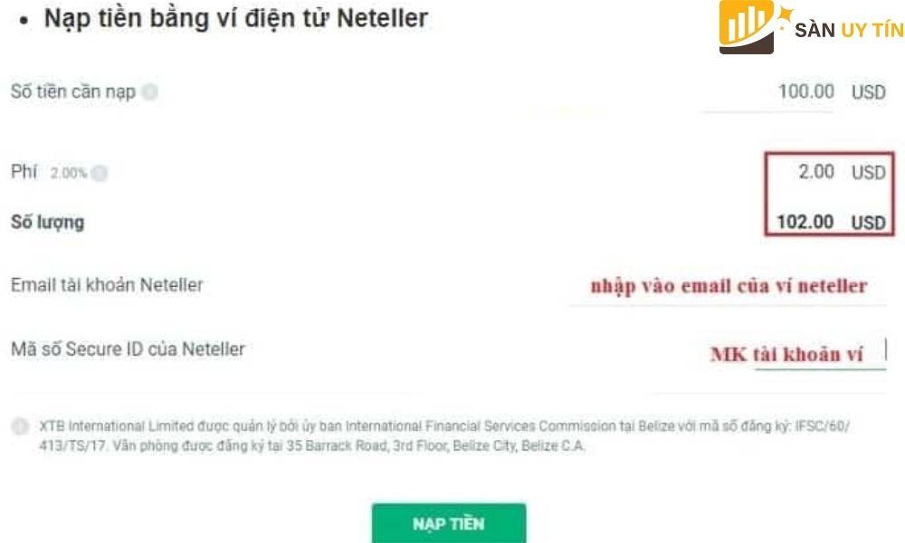 Hình thức nạp tiền bằng Neteller