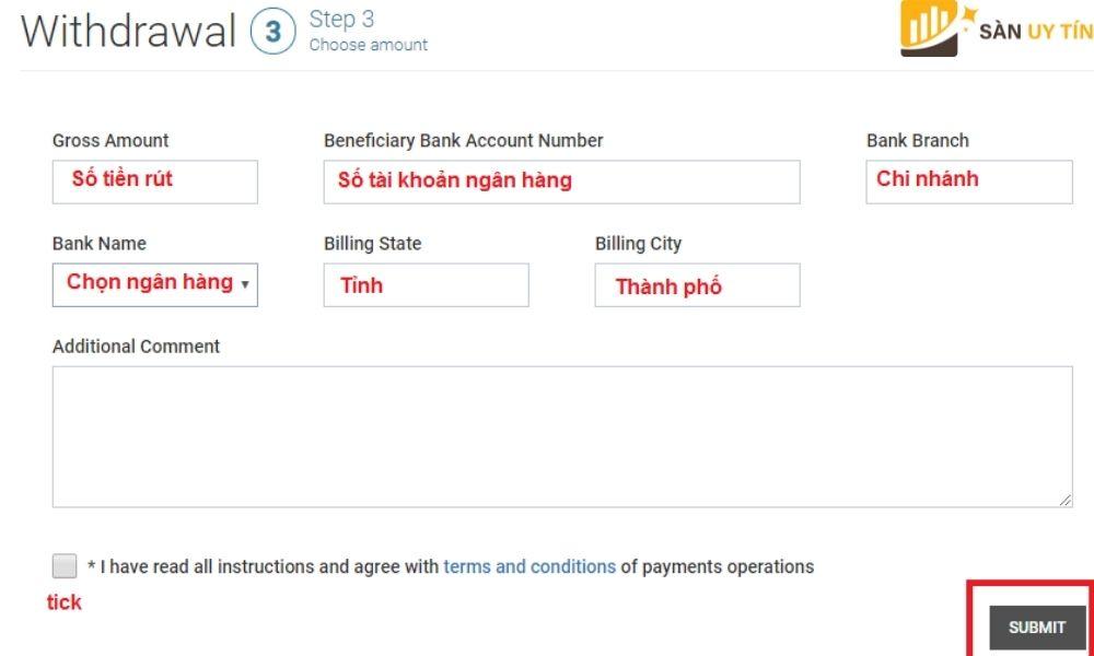 Biểu mẫu của rút tiền tại Tickmill qua Internet Banking