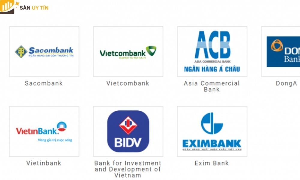 Lựa chọn ngân hàng để nạp tiền