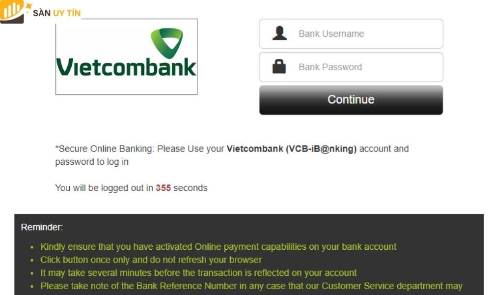 Điền thông tin tài khoản ngân hàng vào