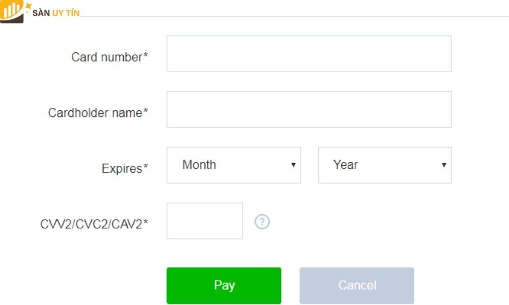 Cần chú ý là tên của chủ thẻ phải trùng khớp với tên của người đăng ký tài khoản.