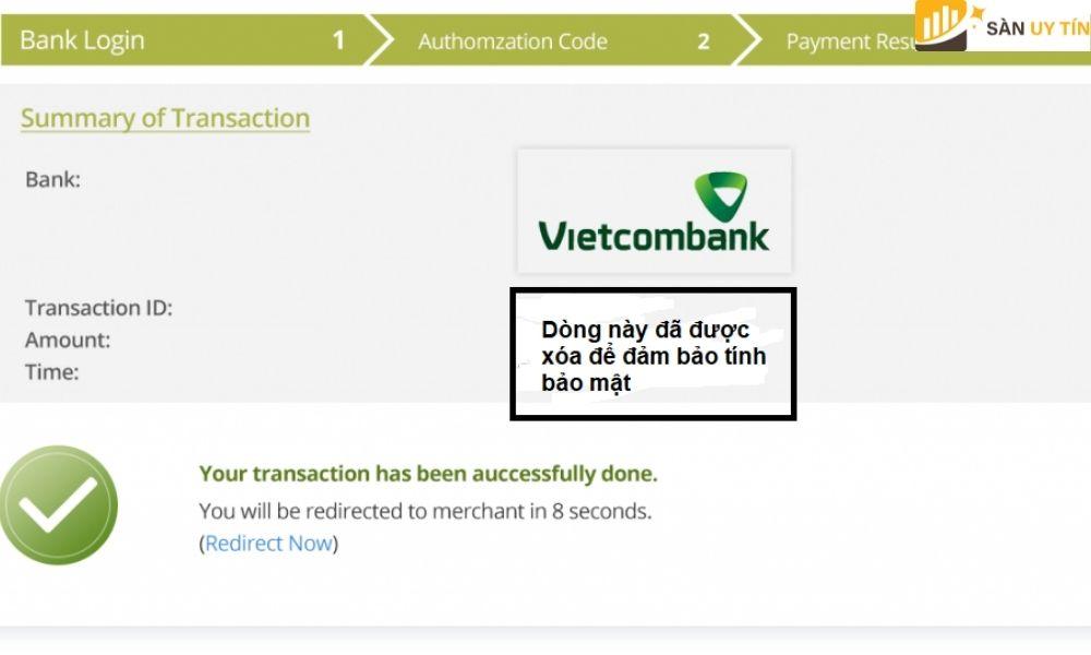 Thông báo chuyển tiền thành công từ ngân hàng