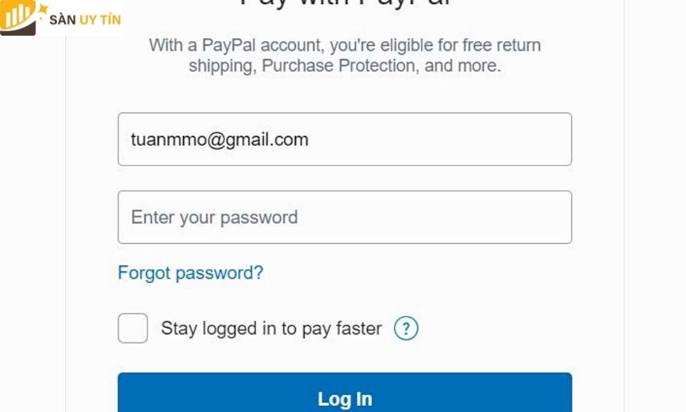 Đăng nhặp vào PayPal như trong hình để nạp tiền