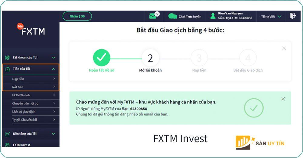 Hướng dẫn rút tiền FXTM nhanh chóng