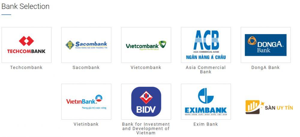 Lựa chọn loại ngân hàng nạp tiền