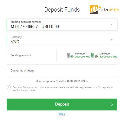Nạp tiền bằng phương thức Local Bank Transfer
