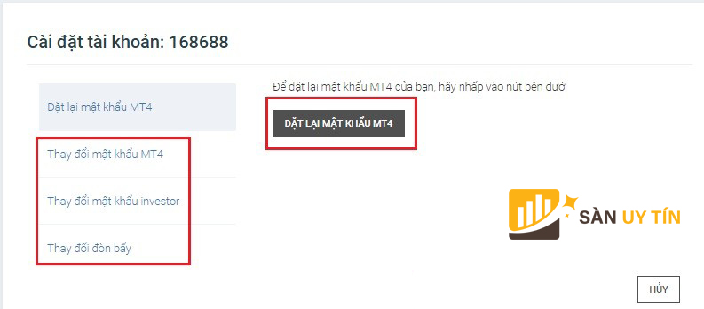 Thay đổi mật khẩu MT4