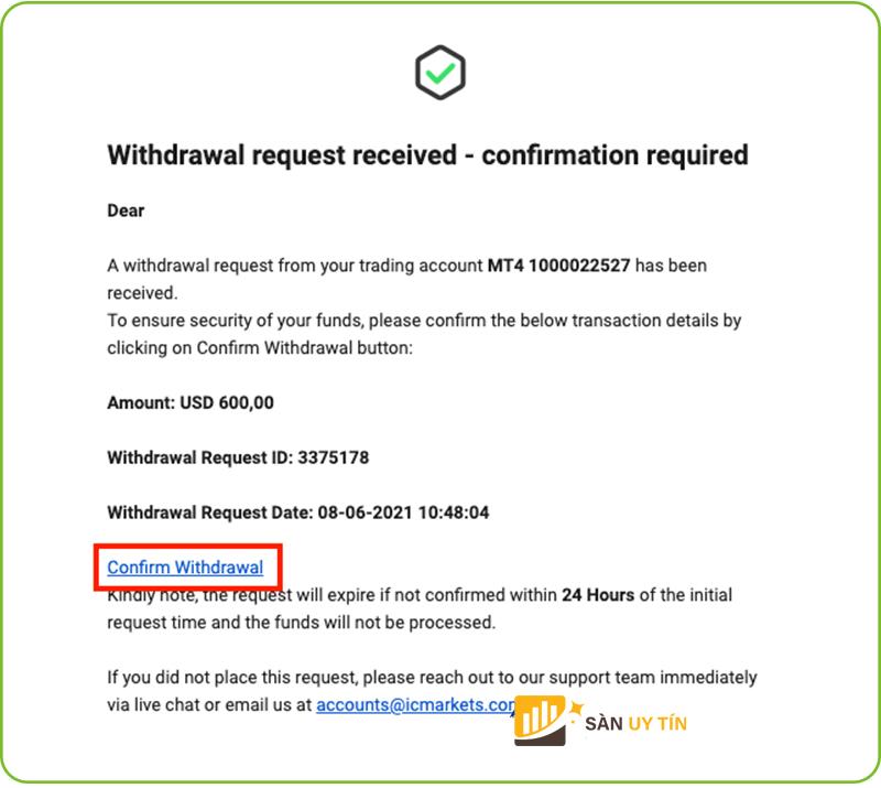 Xác nhận rút tiền tại ICmarket qua email
