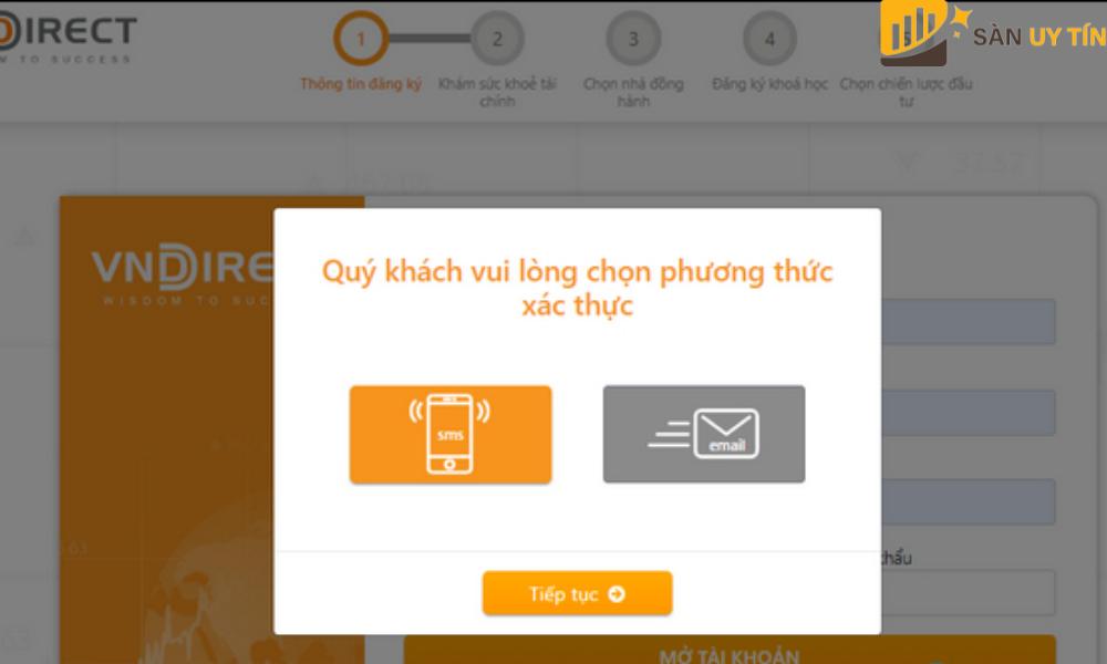 Trader có thể chọn qua SMS hoặc qua Email của mình.
