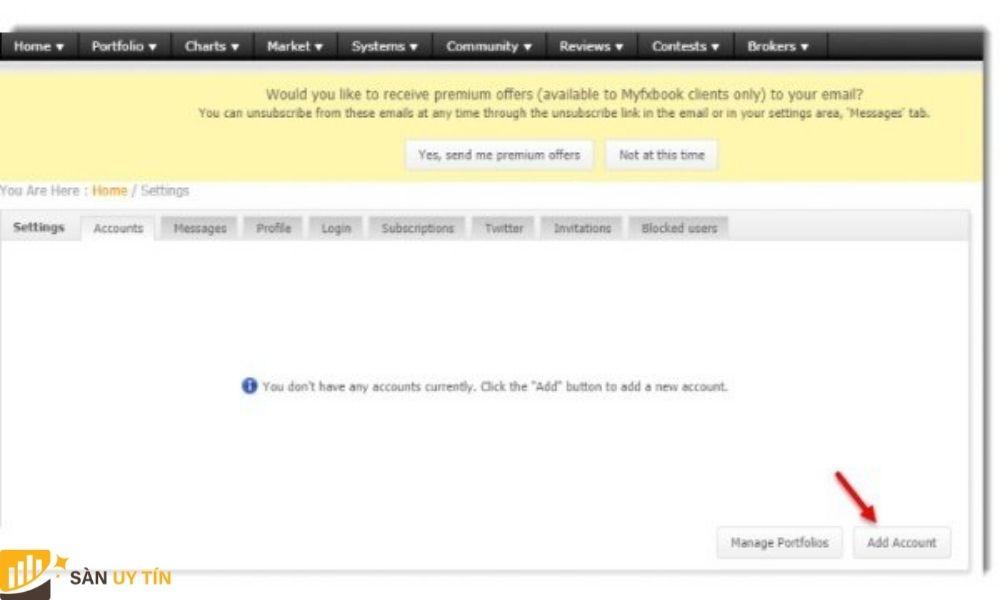 Trader nhấn vào Add Account để liên kết Myfxbook