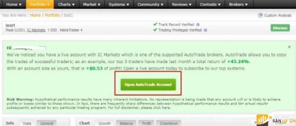 Trader chọn vào ngay phần Open AutoTrade Account.
