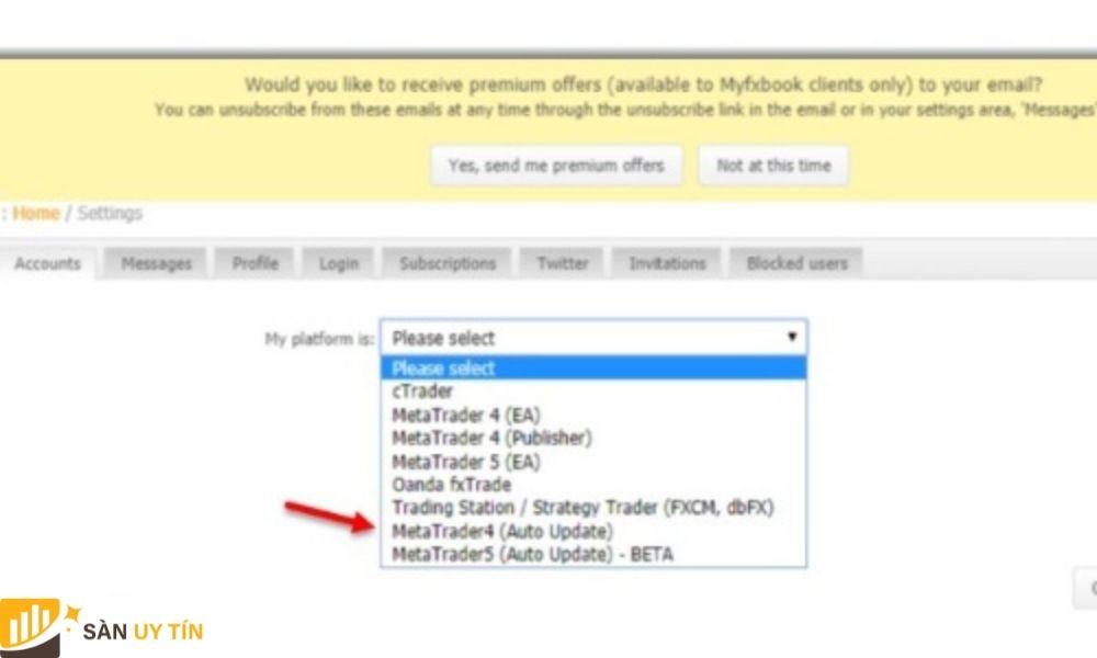 Trader tiến hành chọn nền tảng tài khoản MT4 như trong hình
